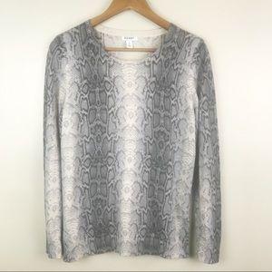 OLD NAVY Gray White Snakeskin Print Light Sweater